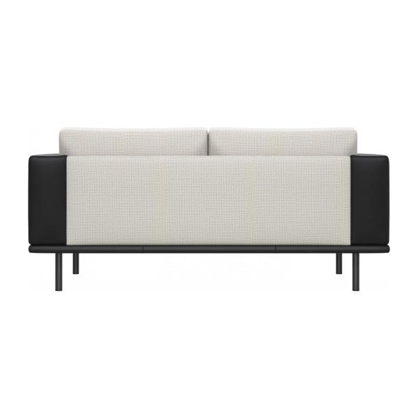 2 seater sofa in Fasoli fabric, snow white with base and armrests in black leather n°3