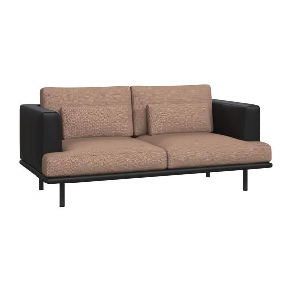 2 seater sofa in Fasoli fabric, jatoba brown with base and armrests in black leather n°1