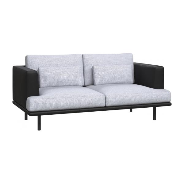 2 seater sofa in Fasoli fabric, grey sky with base and armrests in black leather