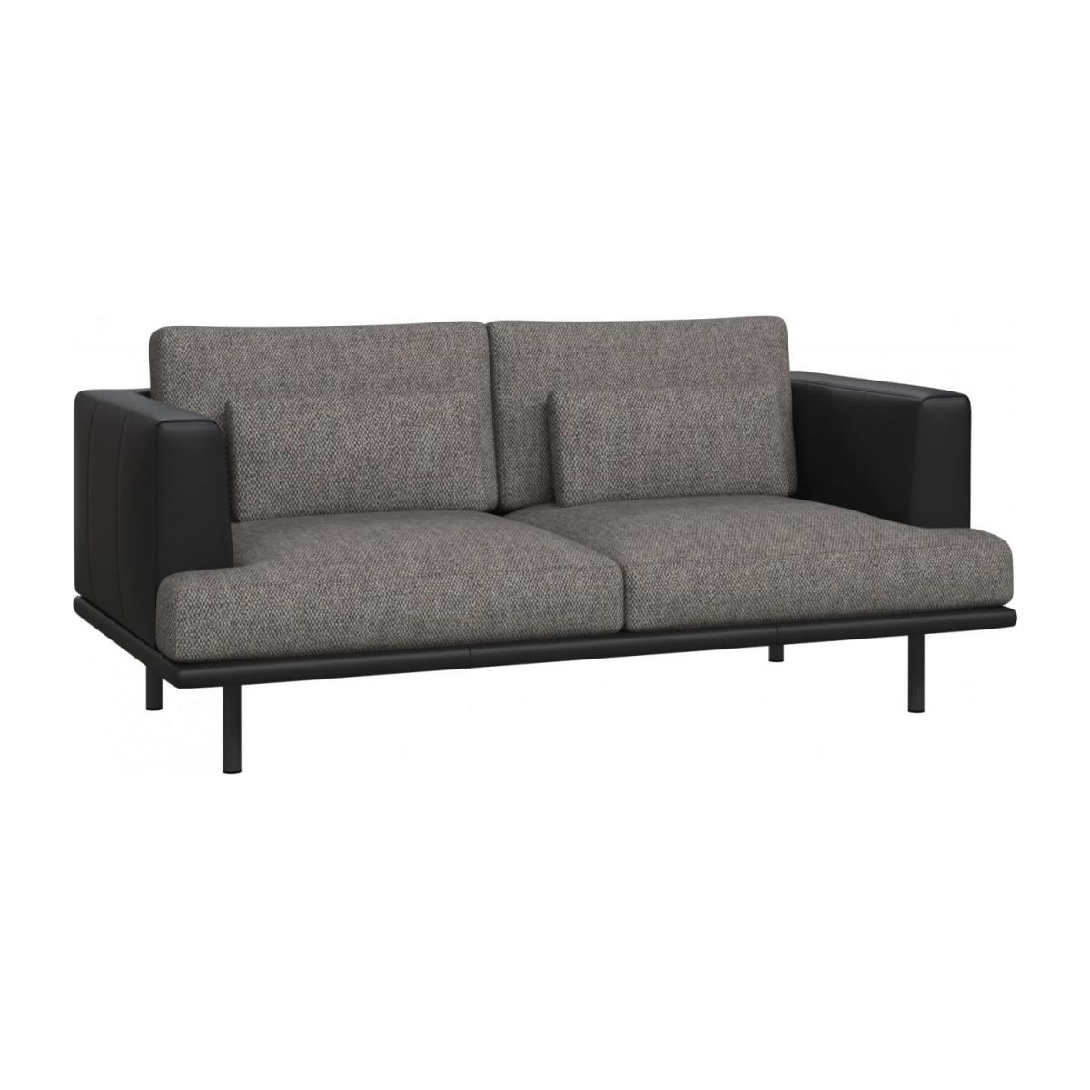 2 seater sofa in Bellagio fabric, night black with base and armrests in black leather n°1