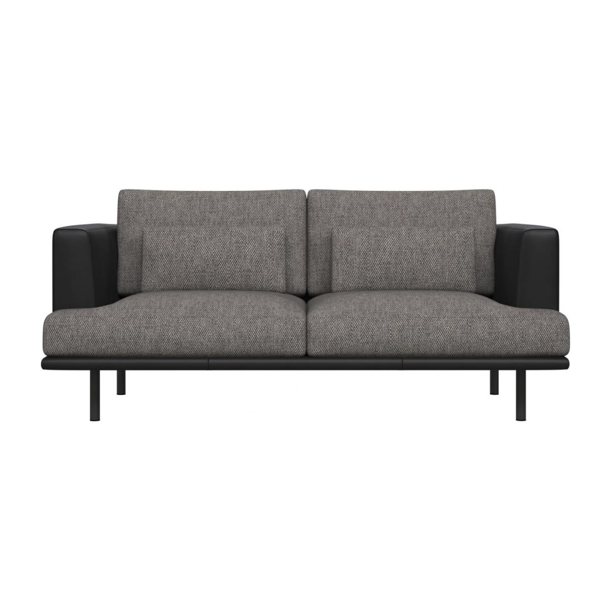 2 seater sofa in Bellagio fabric, night black with base and armrests in black leather n°3