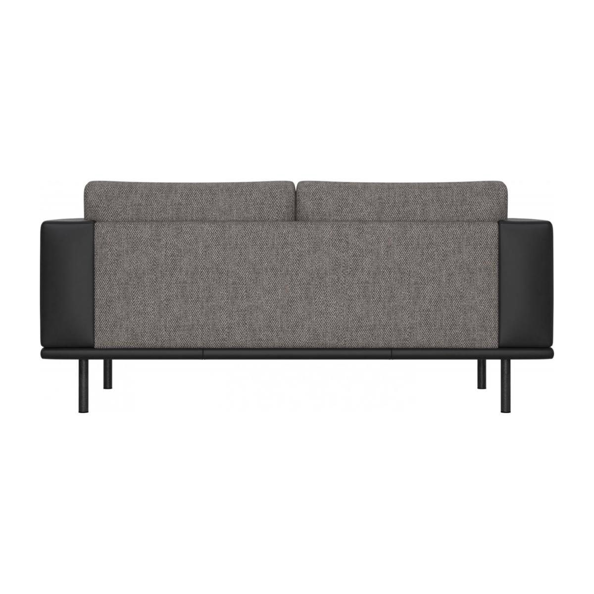 2 seater sofa in Bellagio fabric, night black with base and armrests in black leather n°4