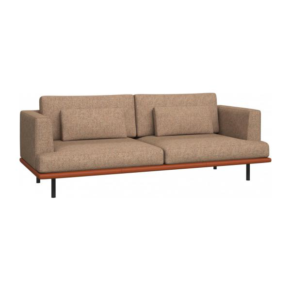 3 seater sofa in Bellagio fabric, passion orange with base in brown leather