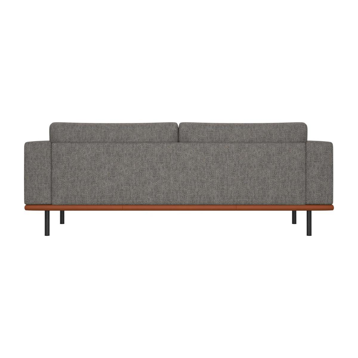 3 seater sofa in Bellagio fabric, night black with base in brown leather n°3
