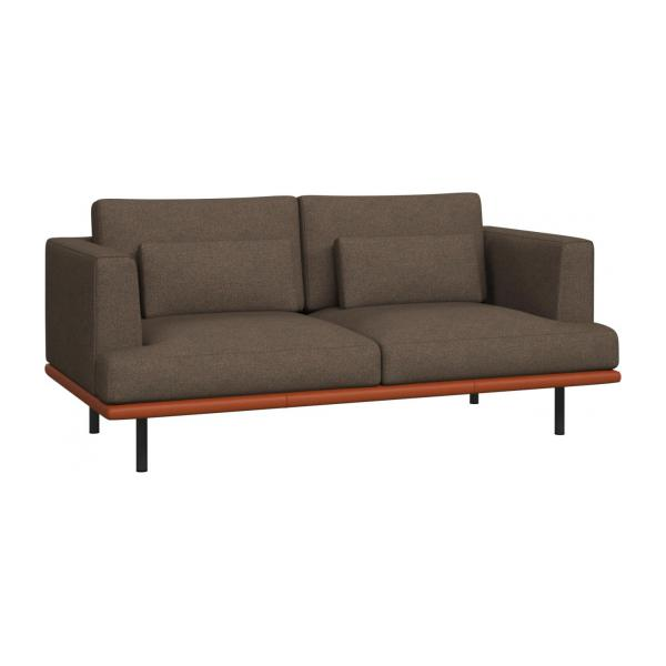 2 seater sofa in Lecce fabric, burned orange with base in brown leather