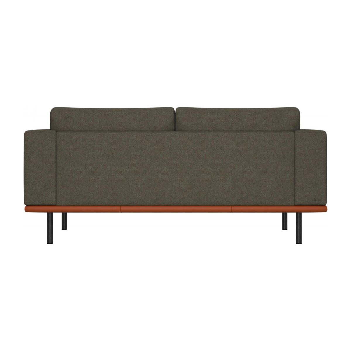 2 seater sofa in Lecce fabric, slade grey with base in brown leather n°3