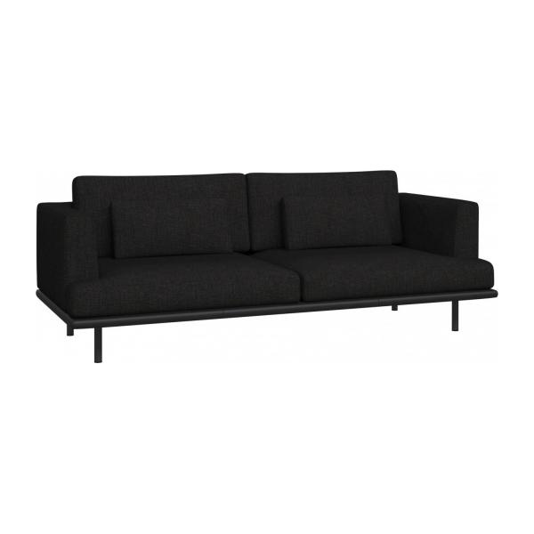 3-seter sofa Ancio sort med base i sort skinn n°1