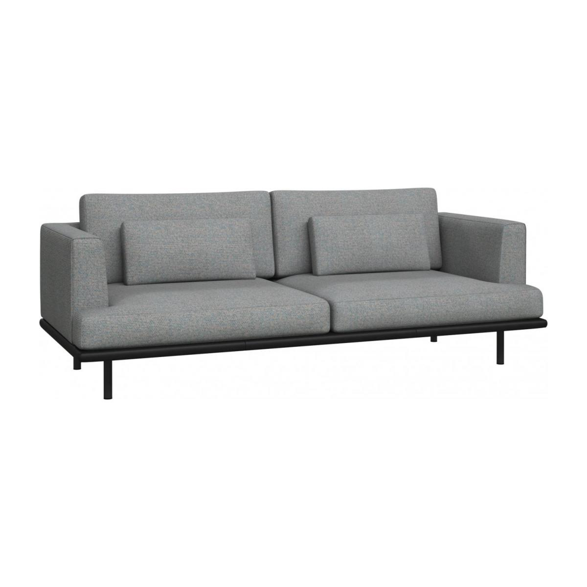 Baci 3 Seater Sofa In Lecce Fabric Blue Reef With Base In Black
