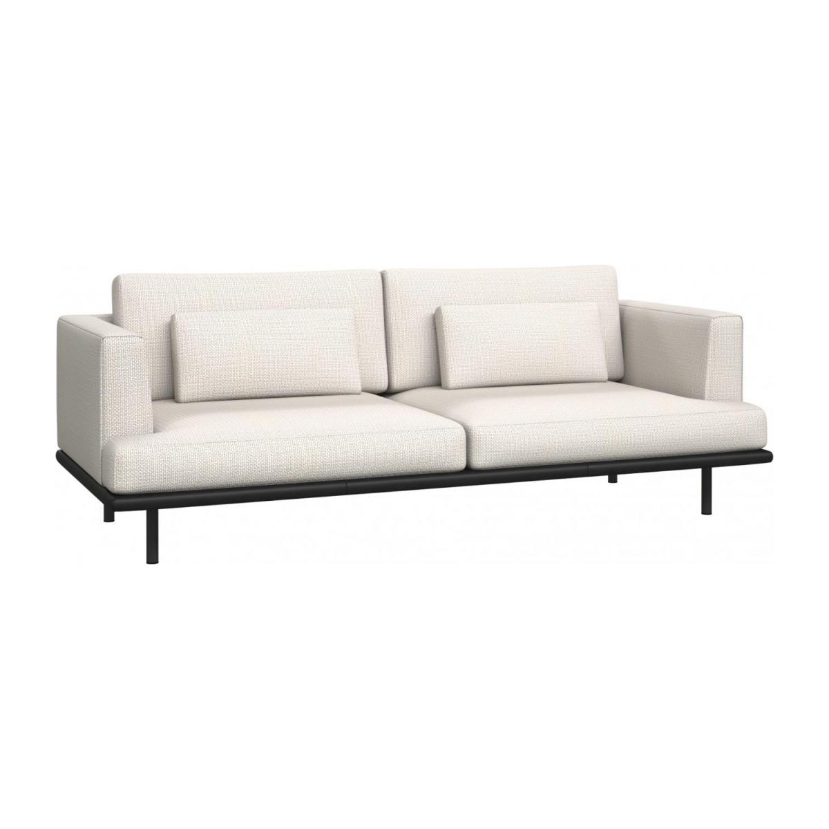 3 seater sofa in Fasoli fabric, snow white with base in black leather n°1