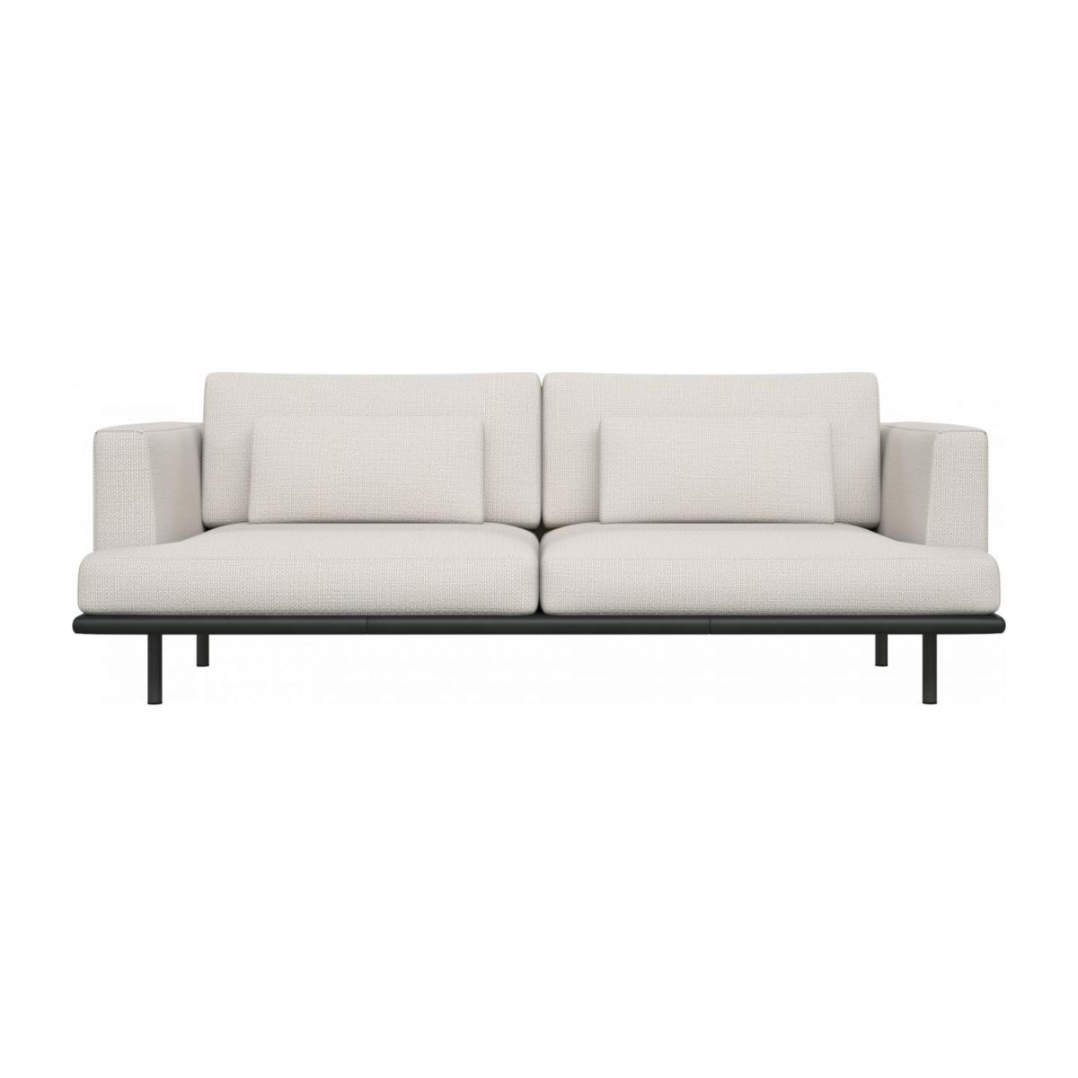 3 seater sofa in Fasoli fabric, snow white with base in black leather n°3