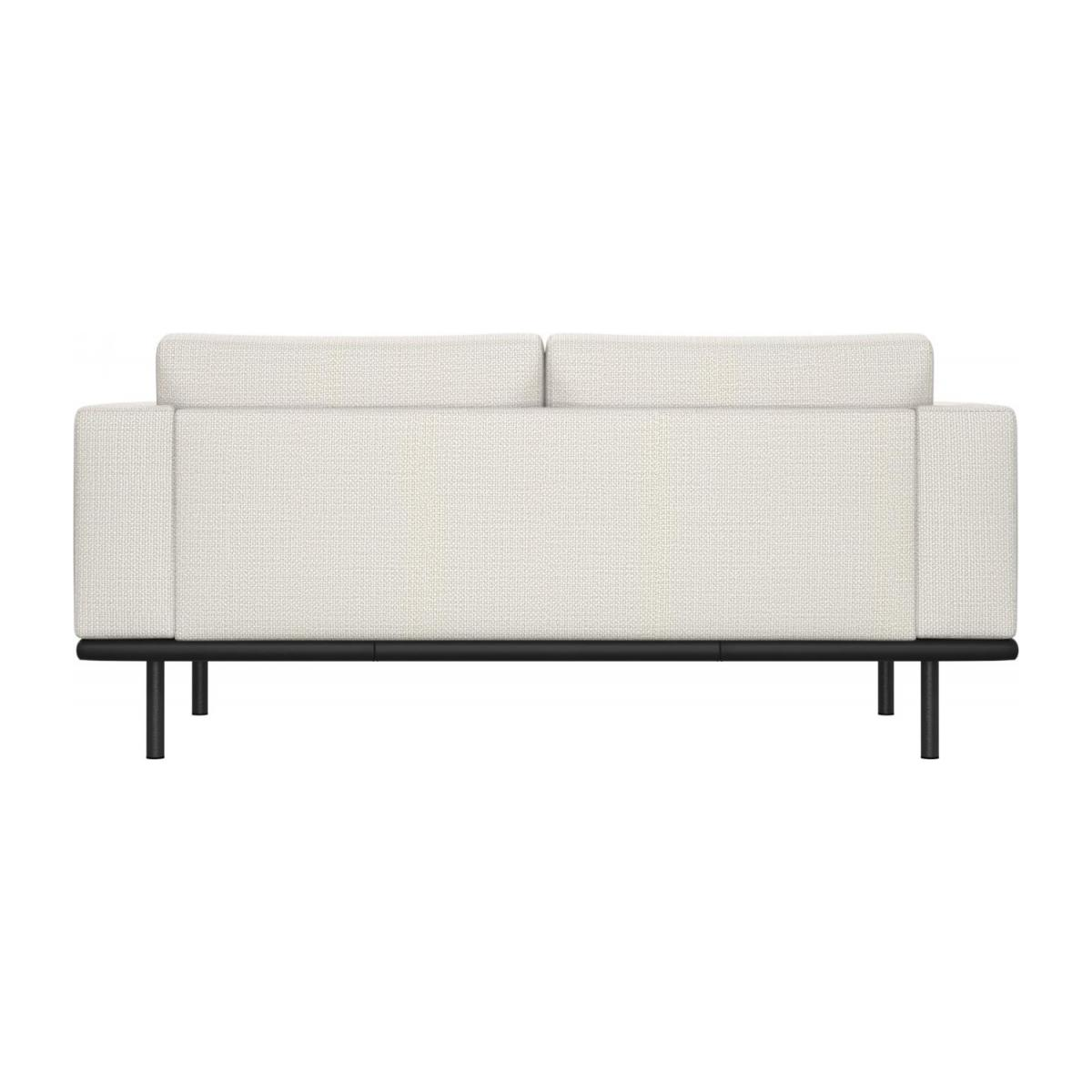 2 seater sofa in Fasoli fabric, snow white with base in black leather n°3
