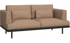2 seater sofa in Bellagio fabric, passion orange with base in black leather