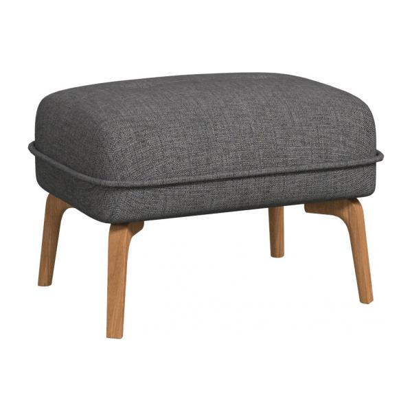 Footstool in Ancio fabric, river rock and natural oak feet