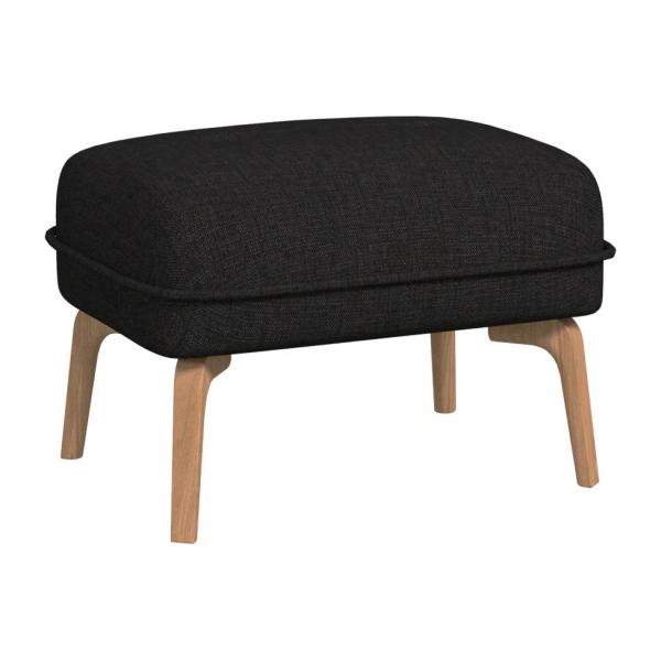 Footstool in Ancio fabric, nero and natural oak feet