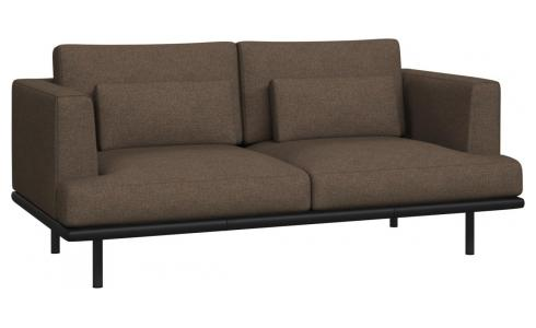2 seater sofa in Lecce fabric, burned orange with base in black leather