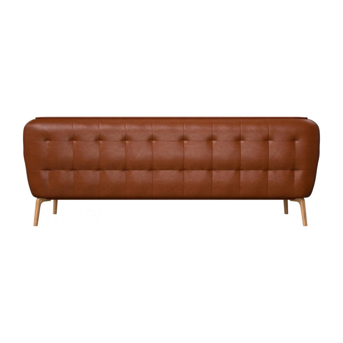 3 seater sofa in Vintage aniline leather, old chestnut and natural oak feet n°3