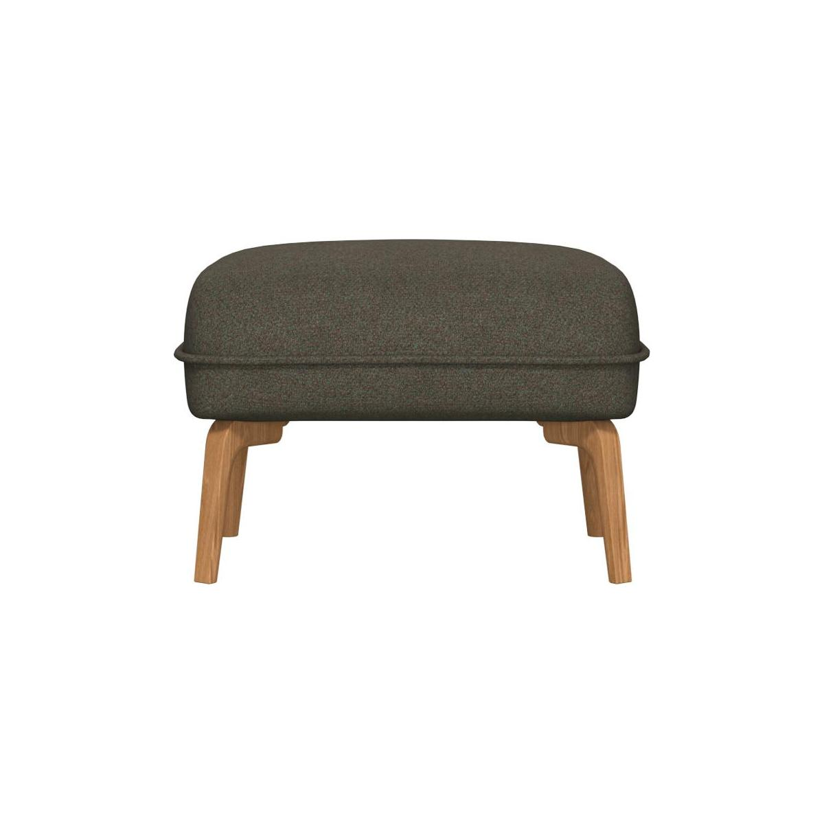 Footstool in Lecce fabric, slade grey and natural oak feet n°2