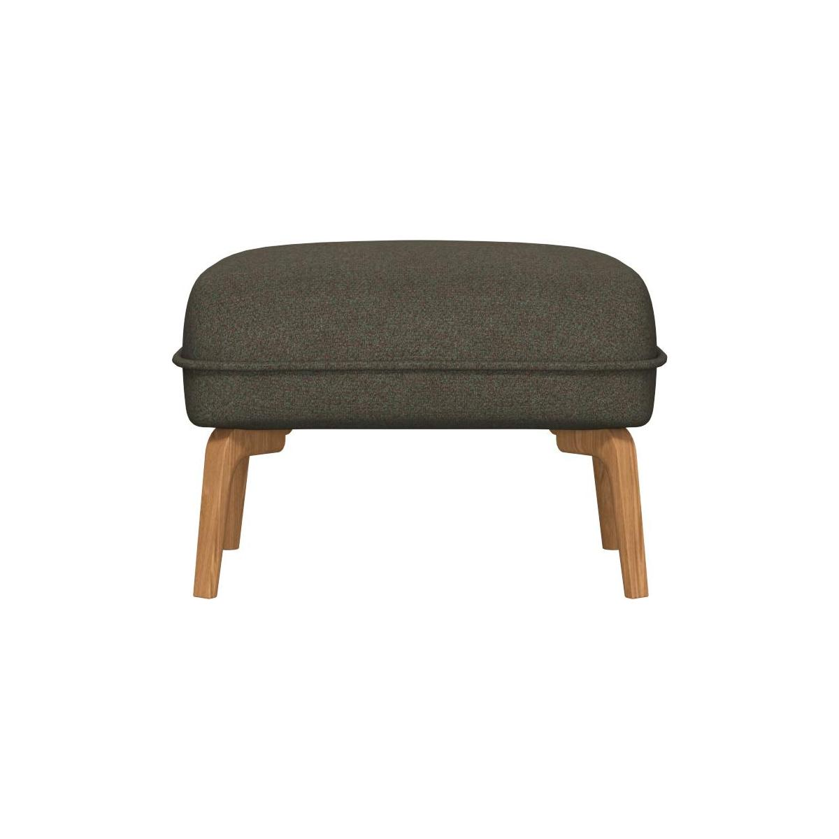 Footstool in Lecce fabric, slade grey and natural oak feet n°3