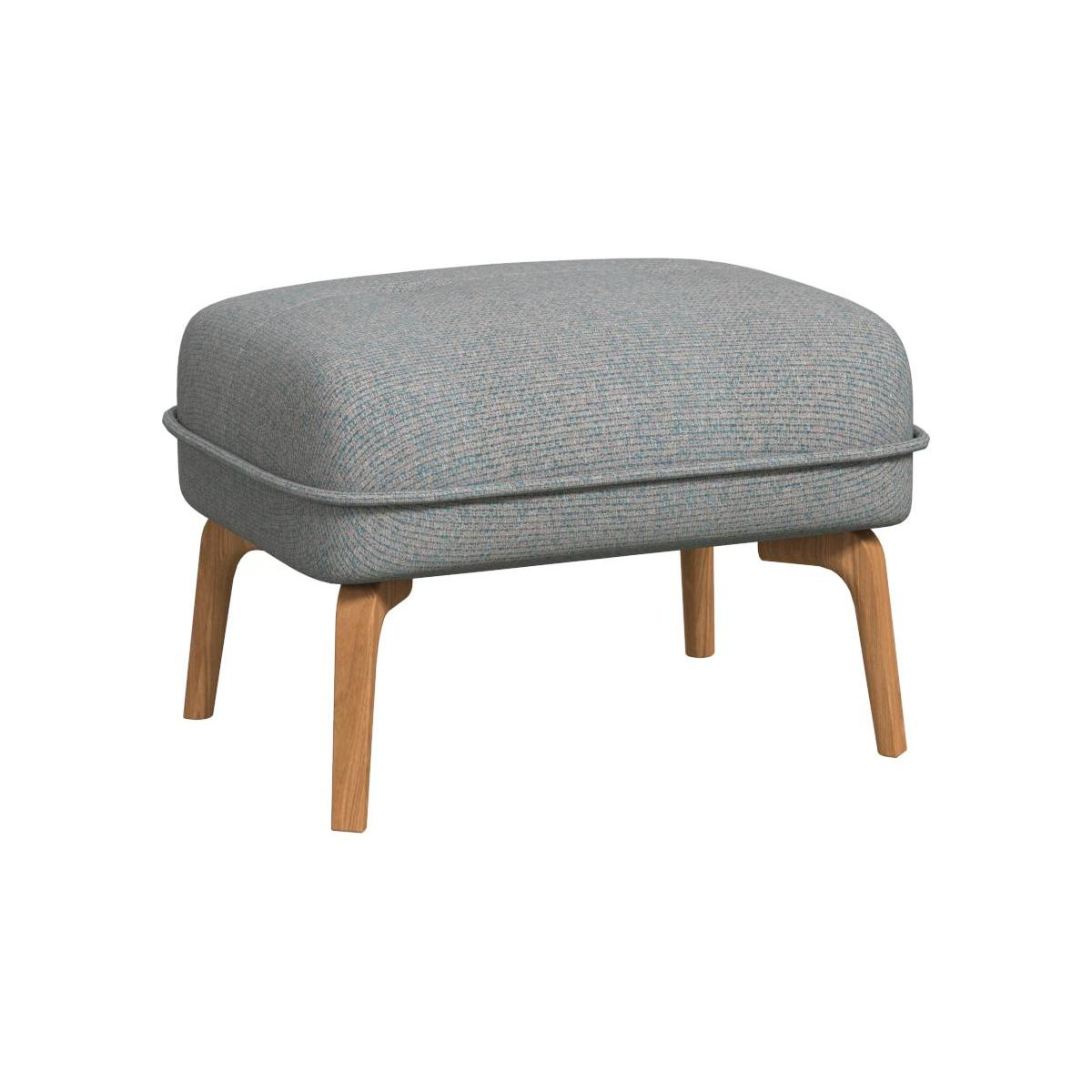 Footstool in Lecce fabric, blue reef and natural oak feet n°1