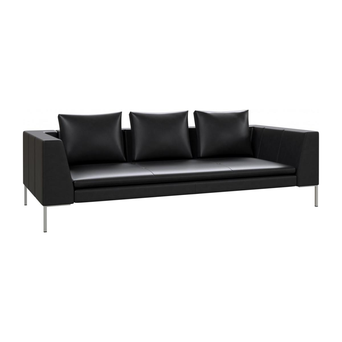 3 seater sofa in Savoy semi-aniline leather, platin black