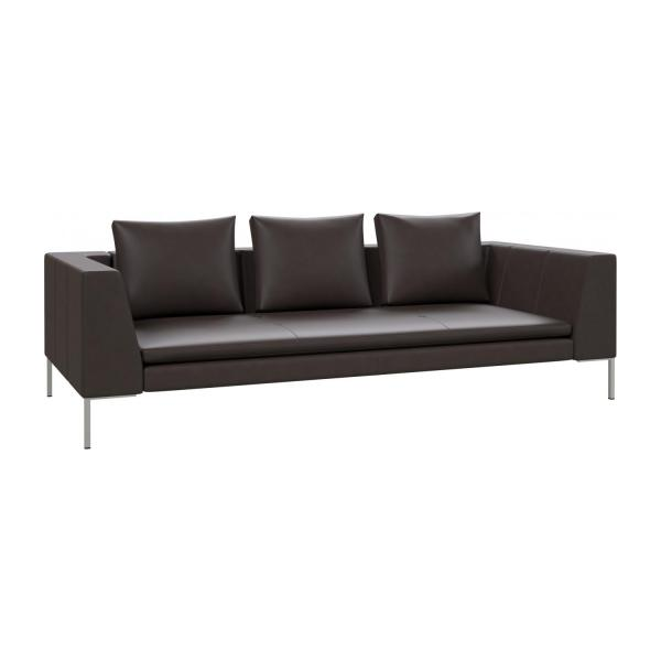 3 seater sofa in Savoy semi-aniline leather, dark brown amaretto