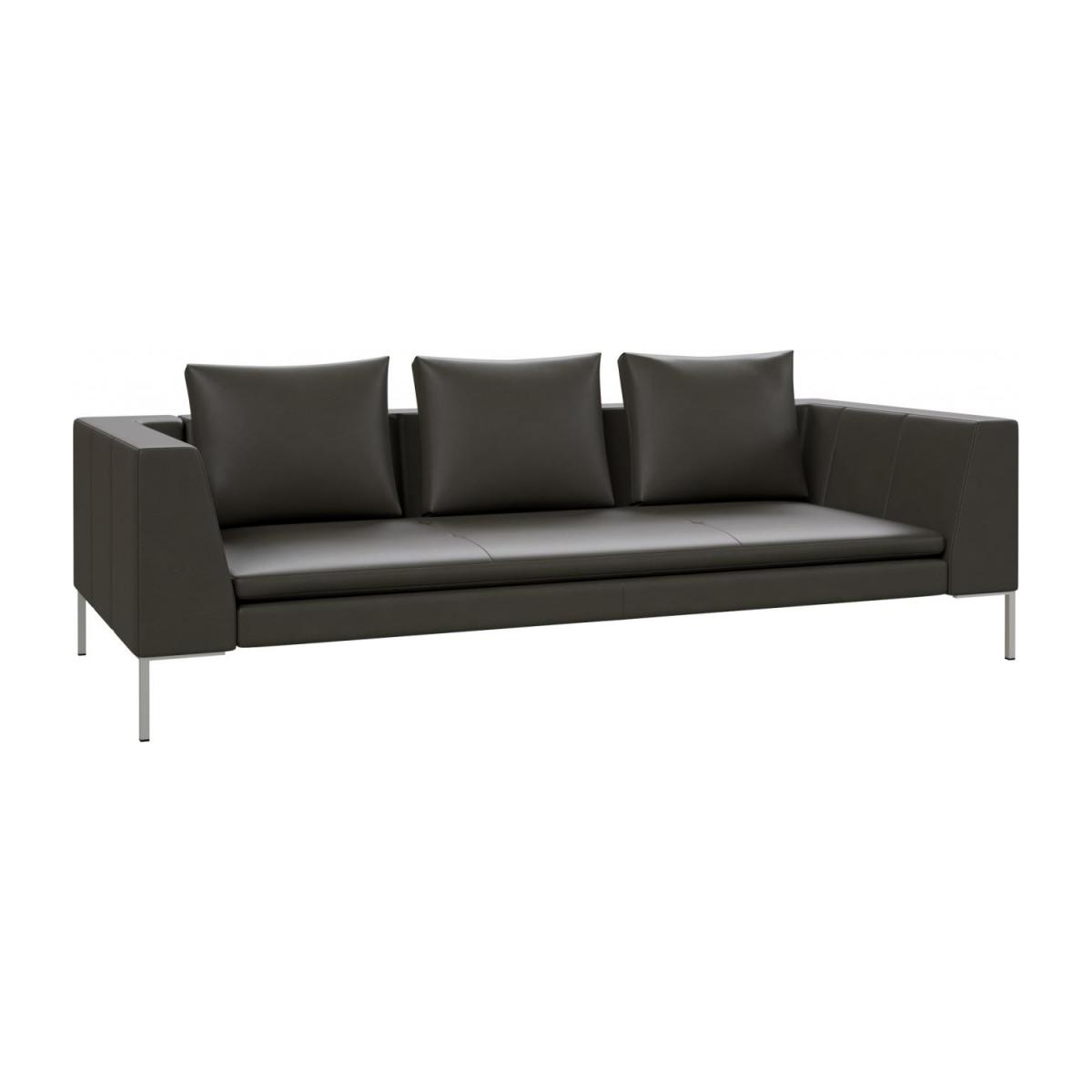 3 seater sofa in Savoy semi-aniline leather, grey