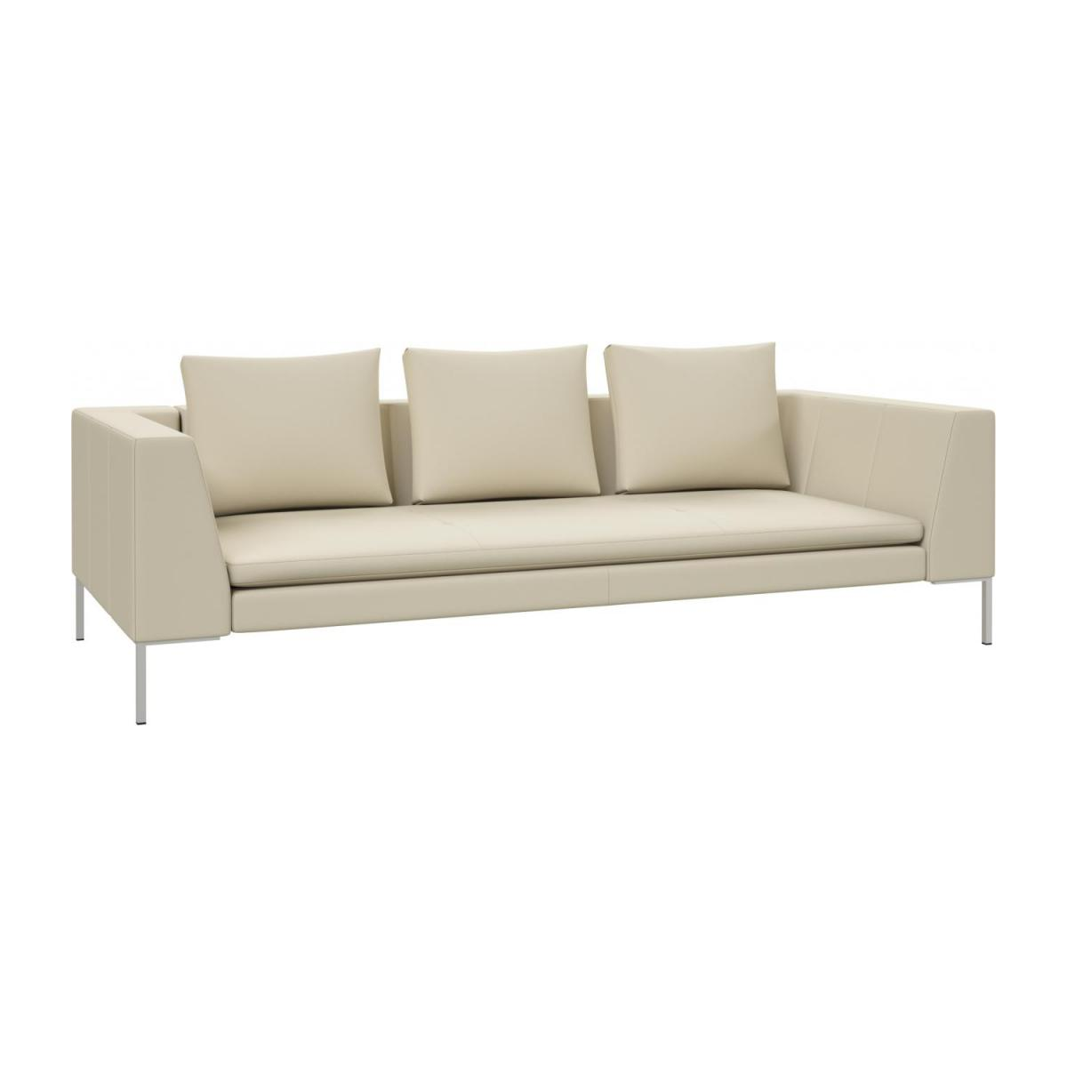 3 seater sofa in Savoy semi-aniline leather, off white n°1