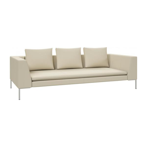 Awesome 3 Seater Sofa In Savoy Semi Aniline Leather, Off White N°1