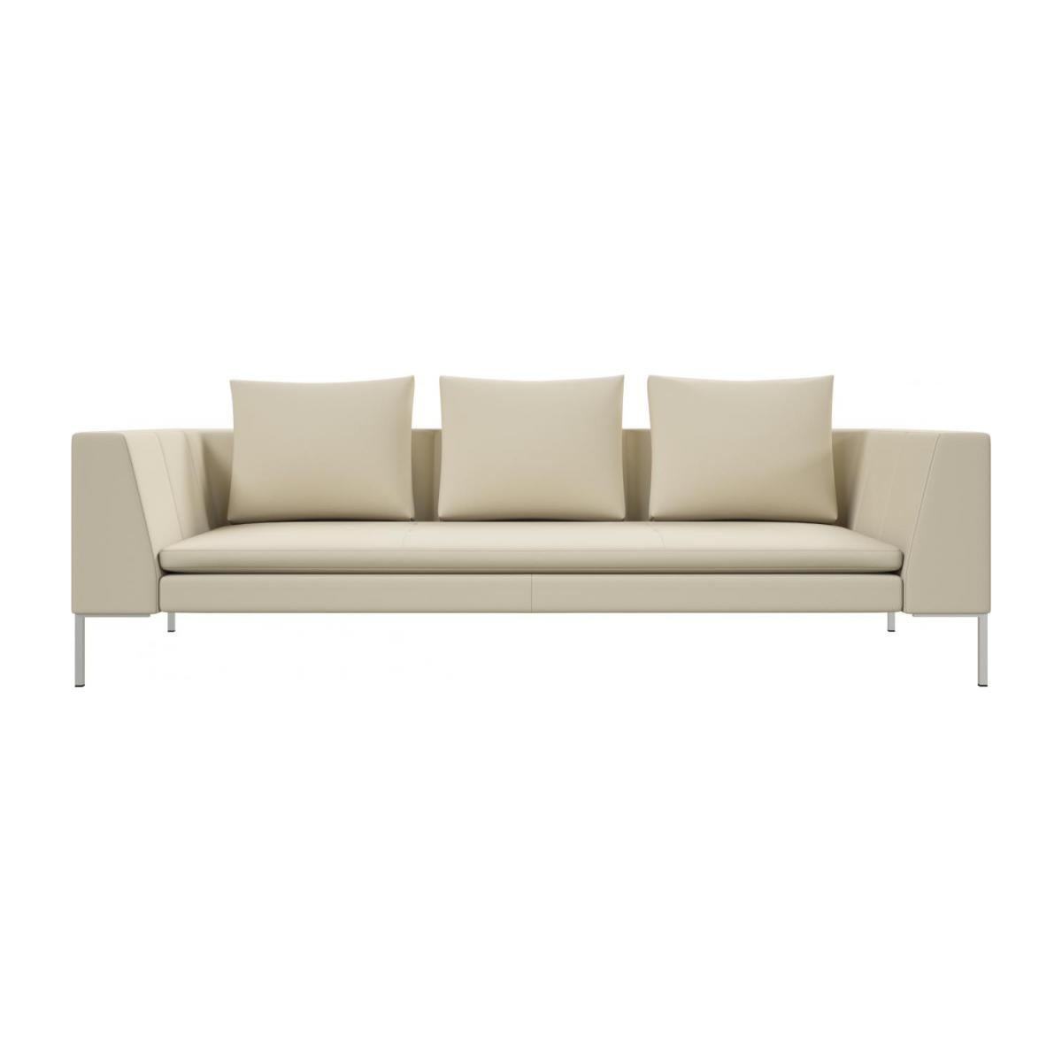 3 seater sofa in Savoy semi-aniline leather, off white n°2