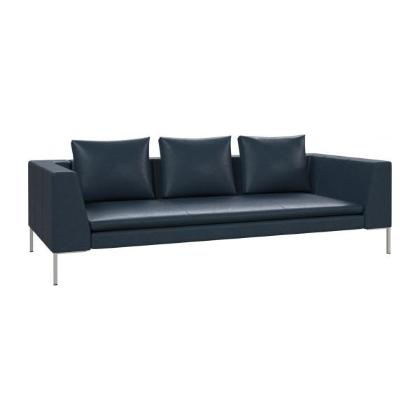 3 seater sofa in Vintage aniline leather, denim blue