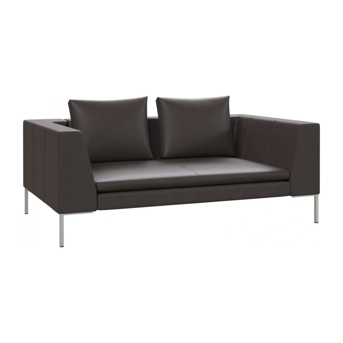 2 seater sofa in Savoy semi-aniline leather, dark brown amaretto