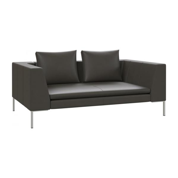 2 seater sofa in Savoy semi-aniline leather, grey