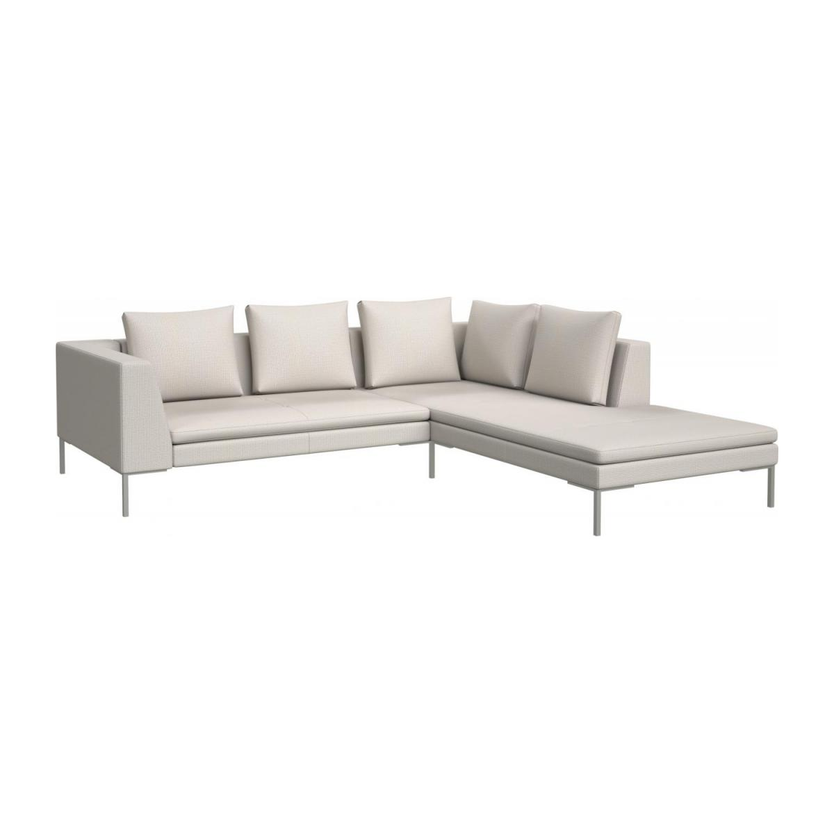 2 seater sofa with chaise longue on the right in Fasoli fabric, snow white  n°1