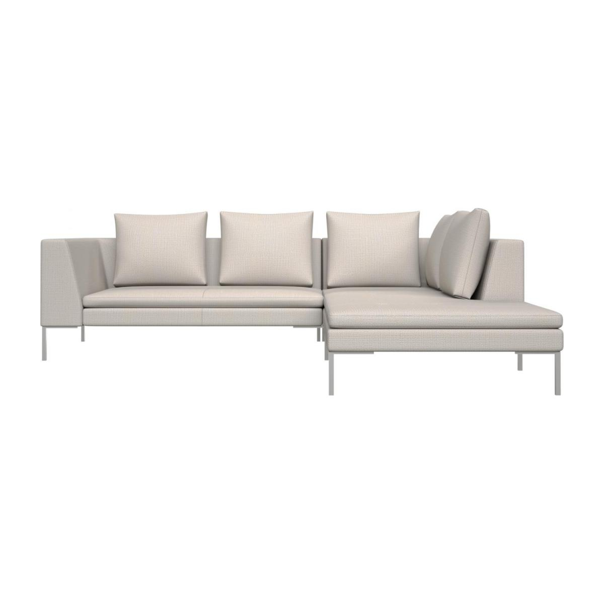 2 seater sofa with chaise longue on the right in Fasoli fabric, snow white  n°2