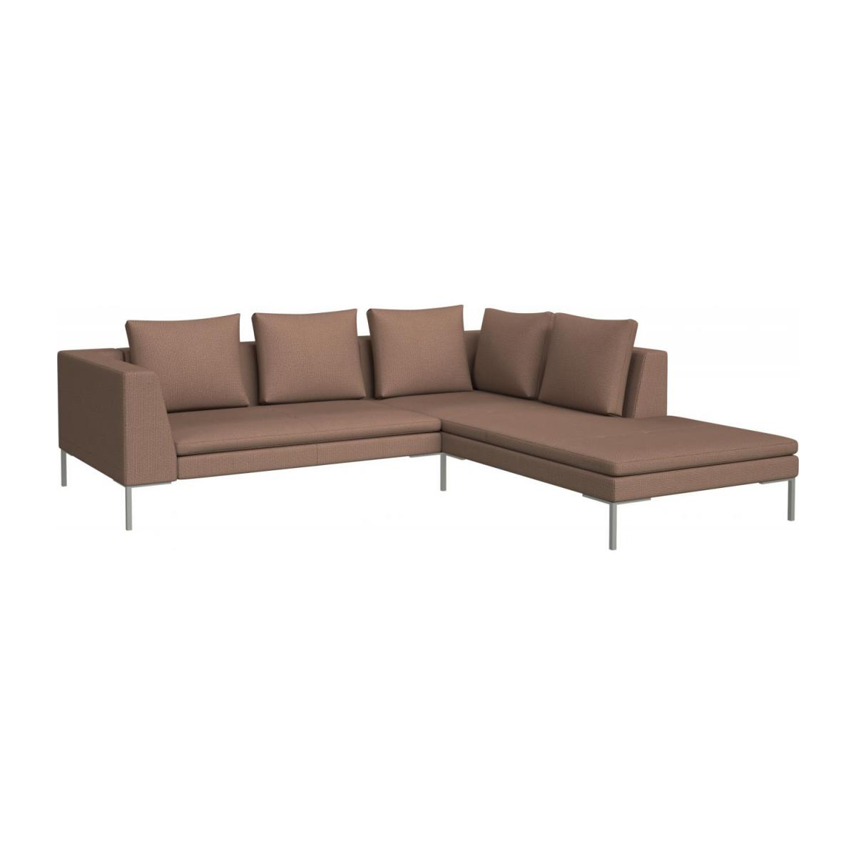 2 seater sofa with chaise longue on the right in Fasoli fabric, jatoba brown  n°1
