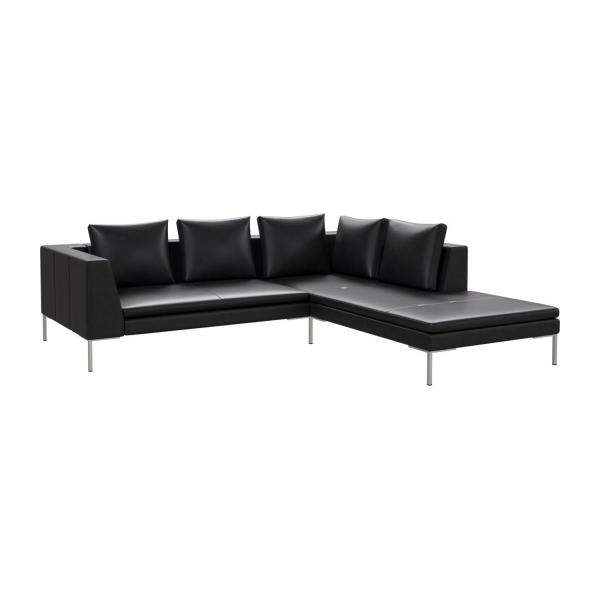 2 seater sofa with chaise longue on the right in Savoy semi-aniline leather, platin black