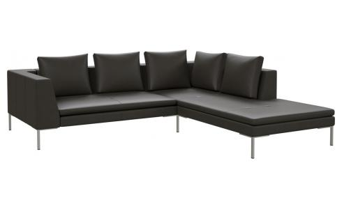 2 seater sofa with chaise longue on the right in Savoy semi-aniline leather, grey