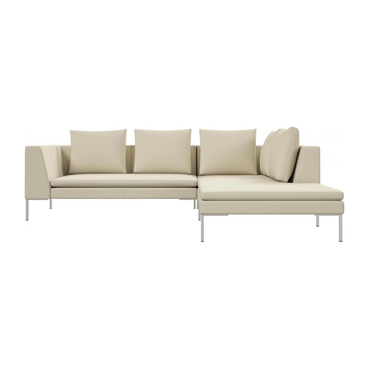2 seater sofa with chaise longue on the right in Savoy semi-aniline leather, off white  n°2