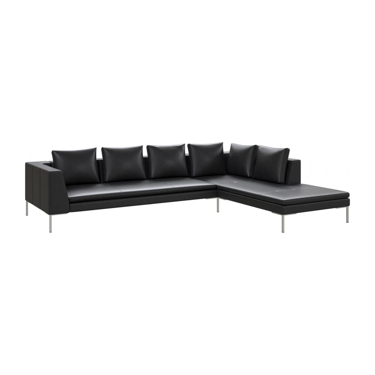 Montino 3 seater sofa with chaise longue on the right in Savoy semi-aniline  leather, platin black