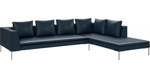 montino 3 sitzer sofa aus anilinleder vintage leather denim blue mit chaiselongue rechts habitat. Black Bedroom Furniture Sets. Home Design Ideas