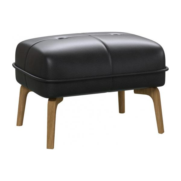Footstool in Savoy semi-aniline leather, platin black and natural oak feet