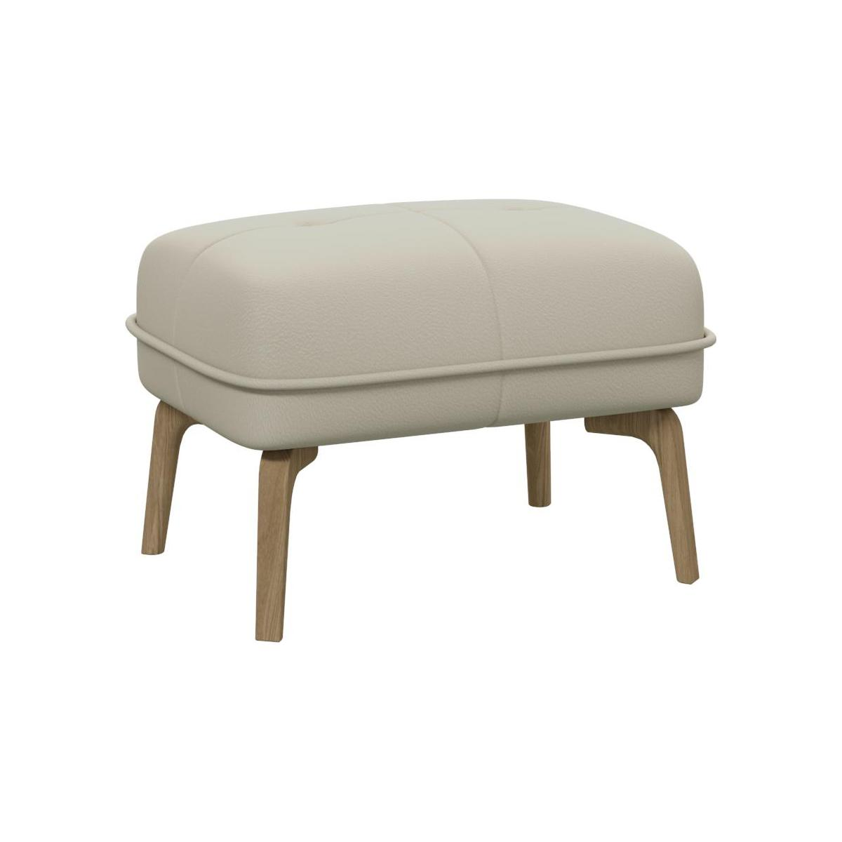 Footstool in Savoy semi-aniline leather, off white and natural oak feet n°1