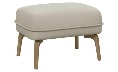 Footstool in Savoy semi-aniline leather, off white and natural oak feet