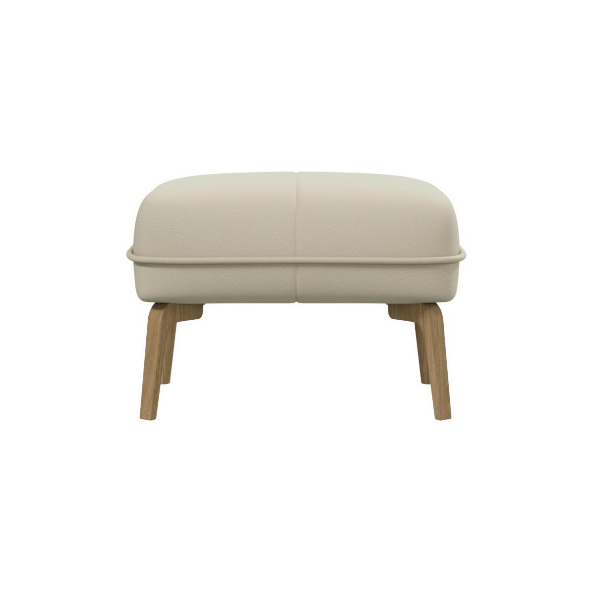 Footstool in Savoy semi-aniline leather, off white and natural oak feet n°2