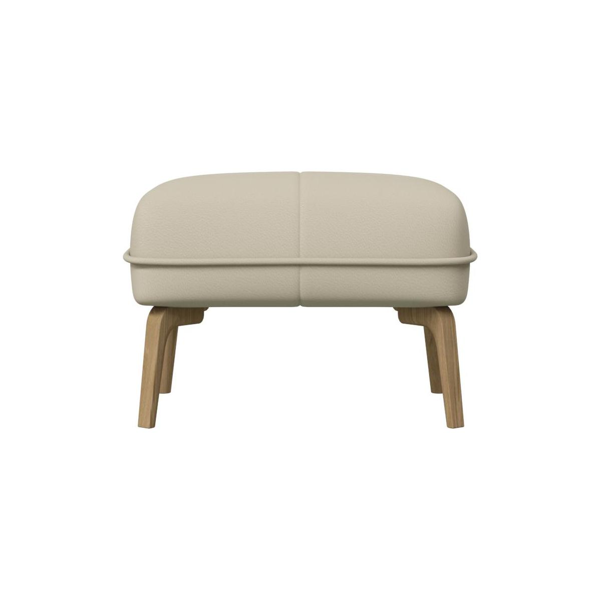 Footstool in Savoy semi-aniline leather, off white and natural oak feet n°3