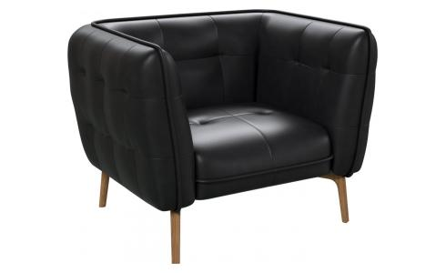 Armchair in Eton veined leather, black and natural oak feet
