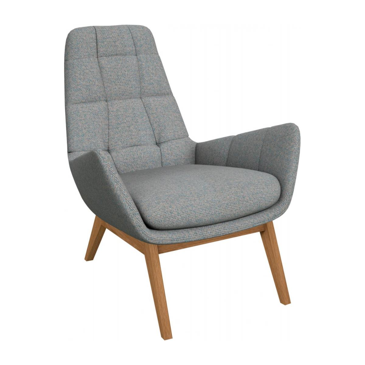 Armchair in Lecce fabric, blue reef with oak legs