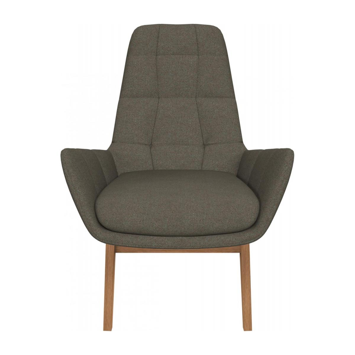 Armchair in Lecce fabric, slade grey with oak legs n°2