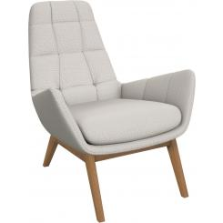 Armchair in Fasoli fabric, snow white with oak legs