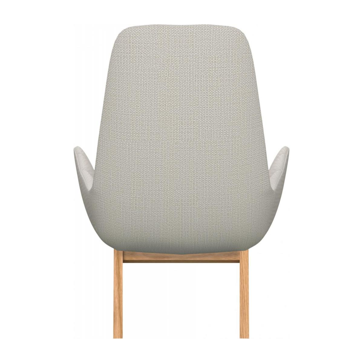 Armchair in Fasoli fabric, snow white with oak legs n°3